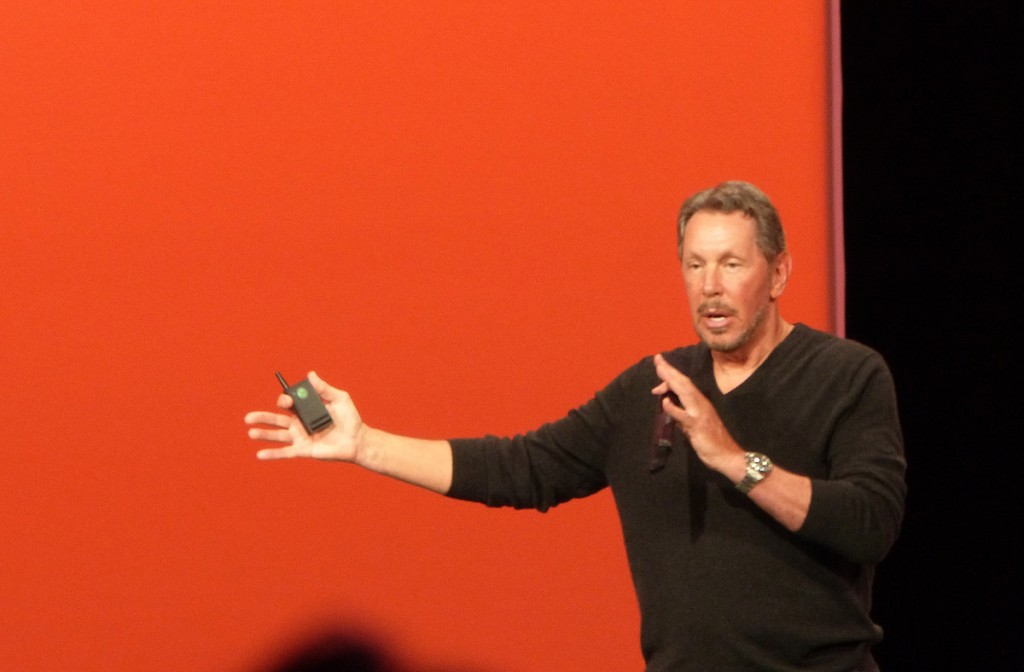 Larry Ellison, CEO de Oracle, durante la keynote inaugural del OpenWorld 2013