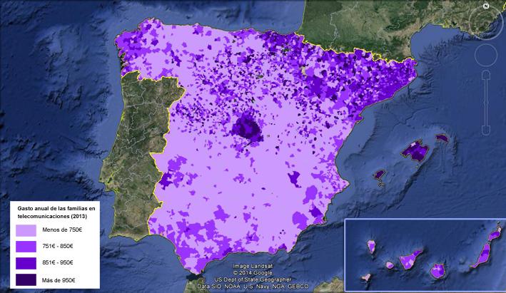 España gasto en teleco