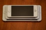 Los iPhone 5S, 6 y 6 Plus. Para comparar sus tamaños.