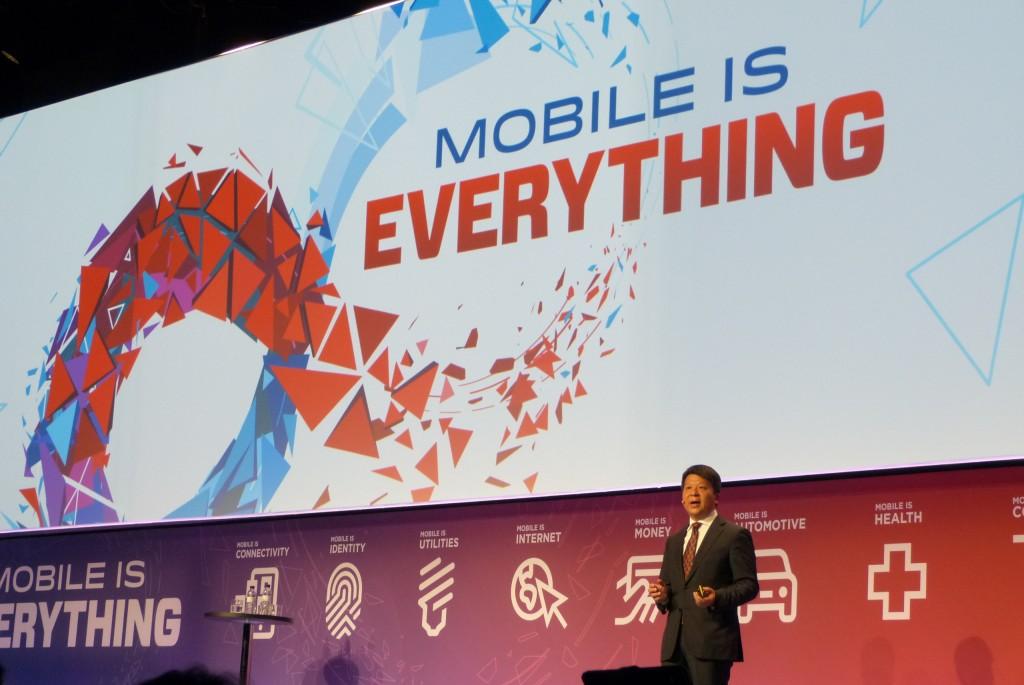 Guo Ping, vicepresidente y CEO rotatorio de Huawei, en un momento de su intervención durante el MWC16