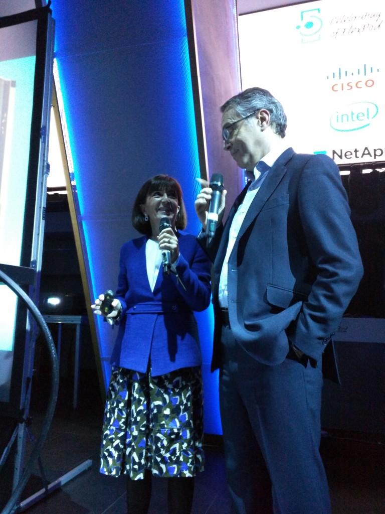 María José Miranda y José Manuel Petisco, máximos responsables de NetApp y Cisco en España, durante el acto de celebración del 5ª Aniversario de FlexPod