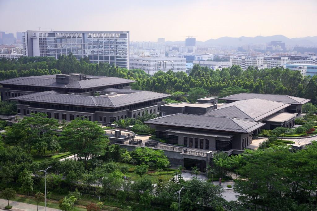 Vista aérea de la ciudad de Huawei en Shenzhen