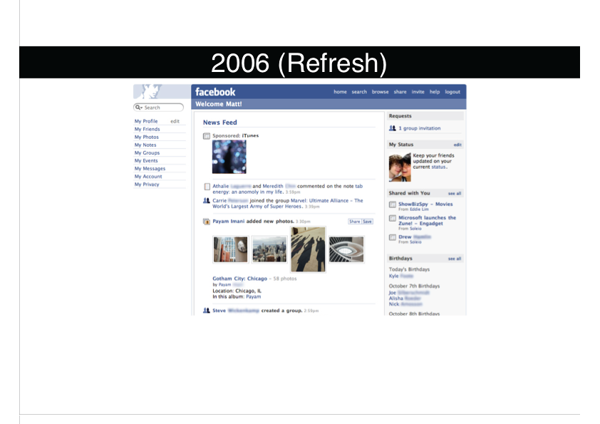 Facebook 2006 (First News Feed)