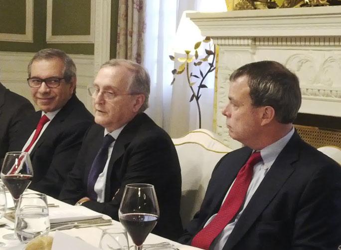 Los responsables de las tres compañías, en un momento del encuentro con los medios especializados