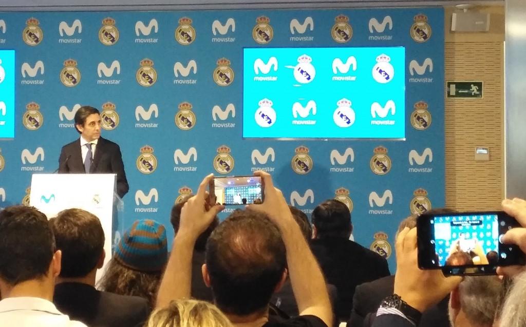 Álvarez-Pallete, presidente de Telefónica, en un momento de la presentación del nuevo patrocinio