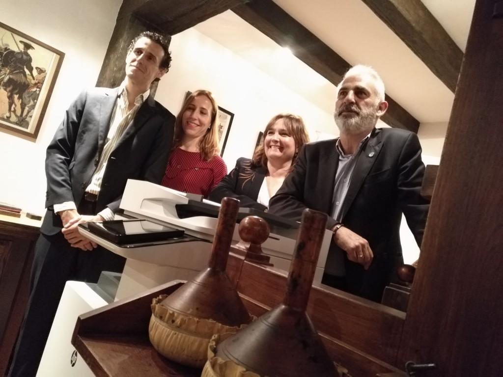Los responsables de HP Inc para el área de impresión profesional, durante la presentación de la nueva familia de A3