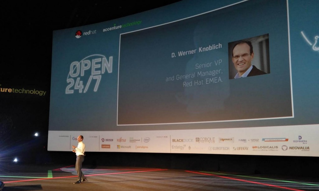 Werner Noblich, Senior VP and General Manager de Red Hat EMEA, en un momento de su intervención durante el EOSC17