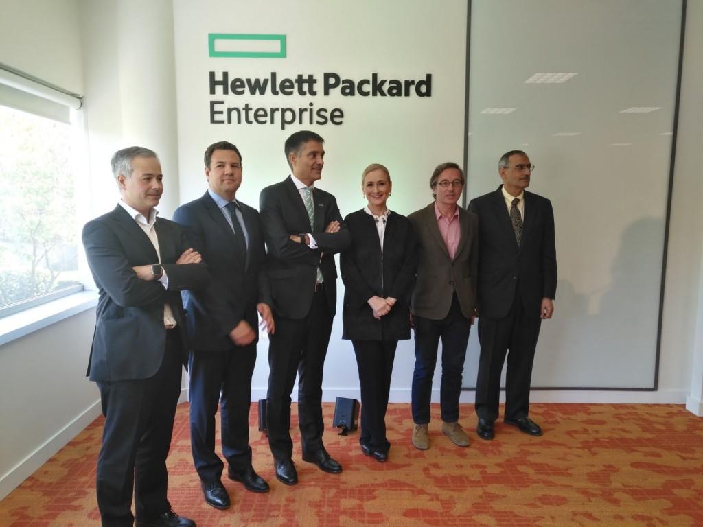 Los directivos y autoridades que inauguraron el Centro Tecnológico de HPE en Las Rozas de Madrid