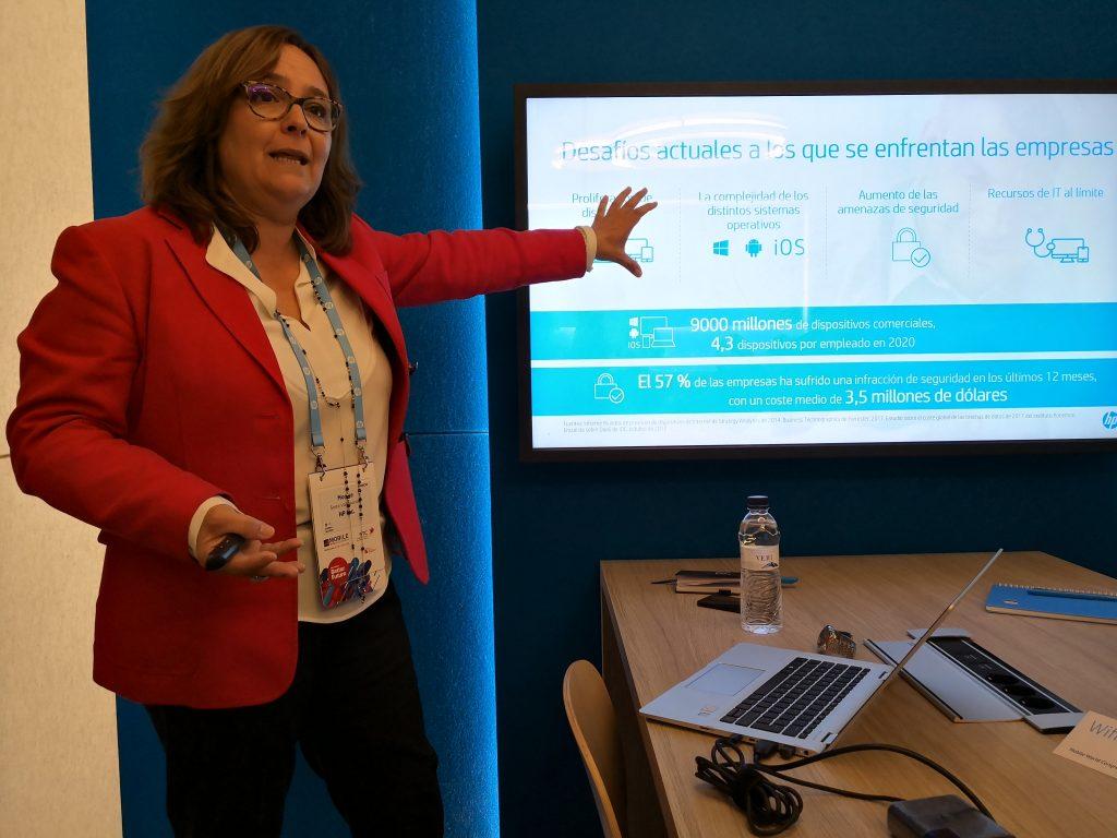 Montse Serra, , directora general de Soluciones para Empresas de HP Iberia, durante la rueda de prensa celebrada en el MWC 2018
